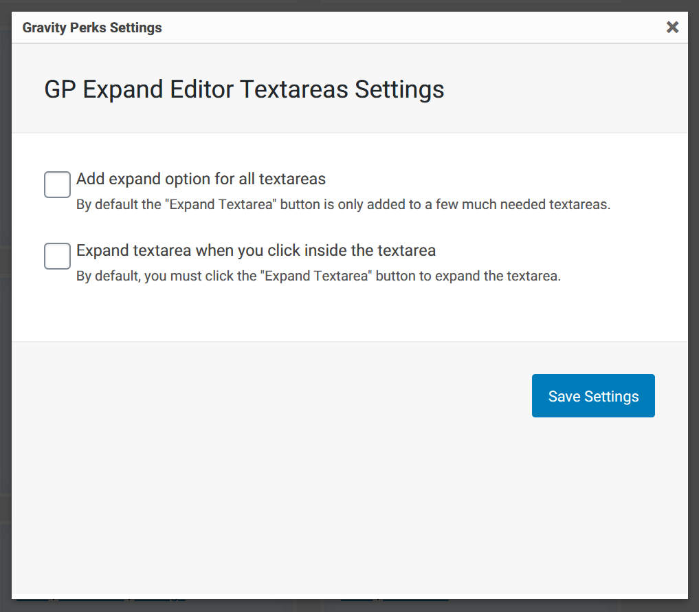 Expand Textareas Settings