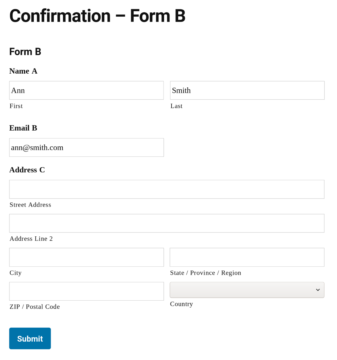 Submit Form B