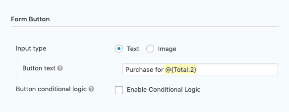 Shows the live merge tag in the Submit Button setting.