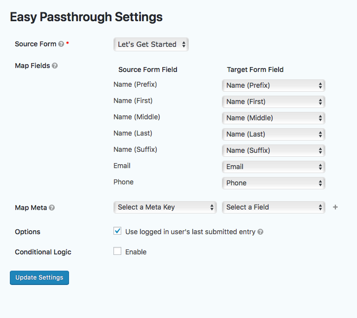 Screenshot of last submitted entry setting.