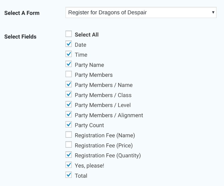 Export Dragon Form Checkboxes