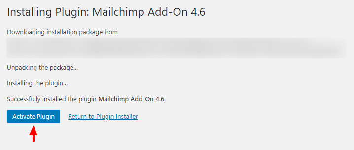 activating official mailchimp addon