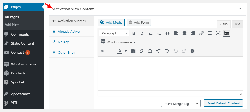 activation view content