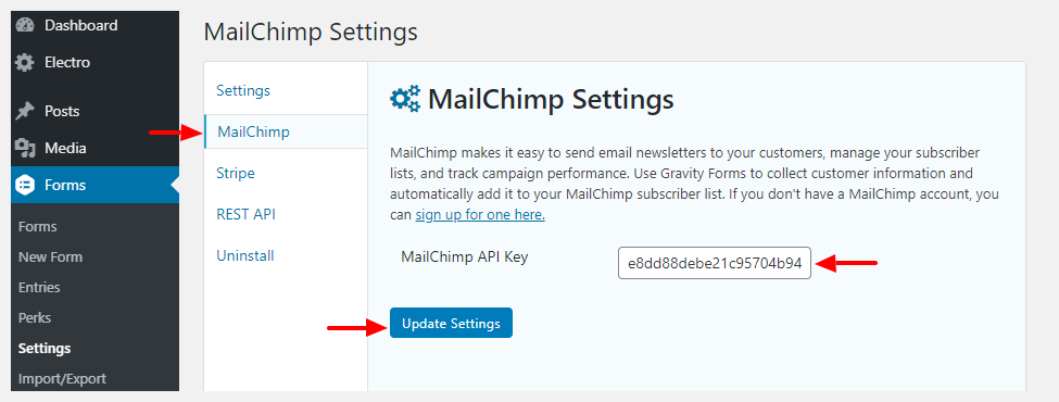 adding mailchimp api key to gravity forms