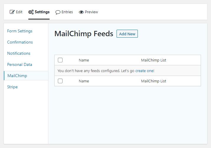 adding a new mailchimp feed to a gravity form