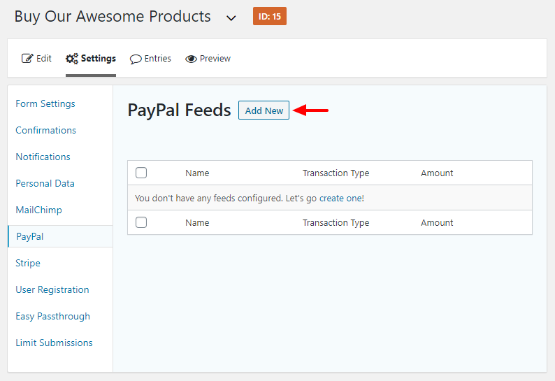 creating new paypal feed