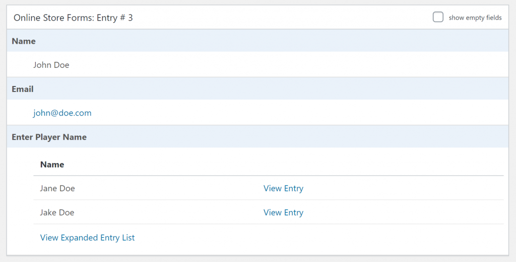 Preview of nested form entries in the back-end