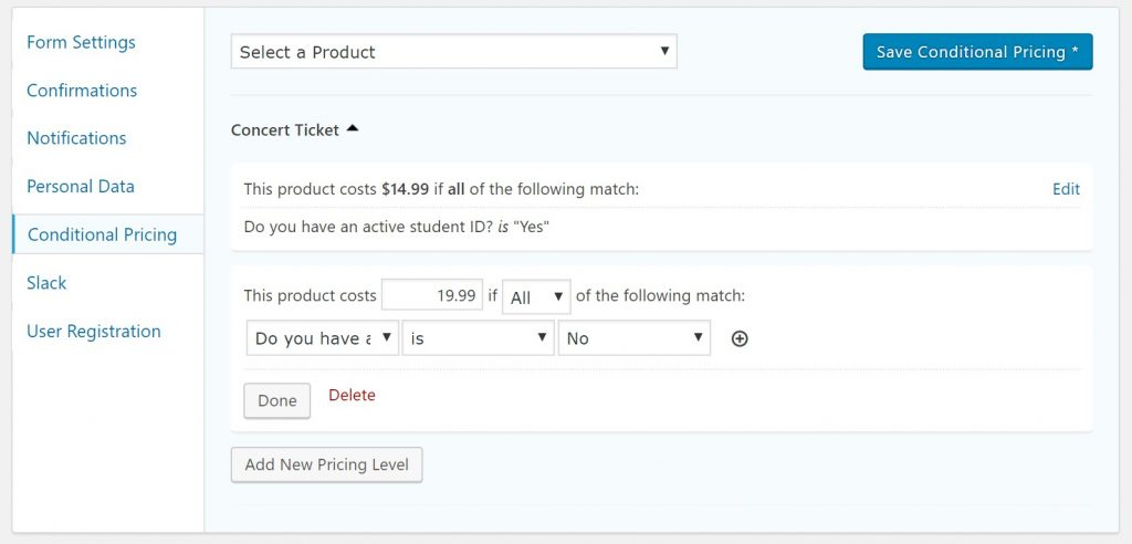 Conditional pricing rules
