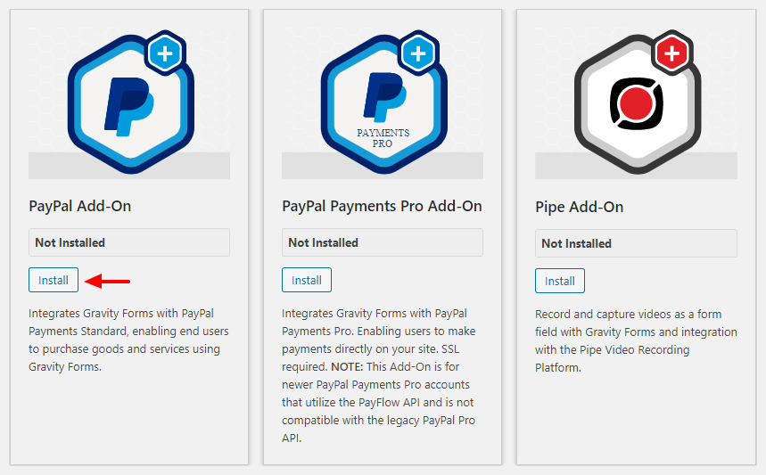 gravity forms paypal addon