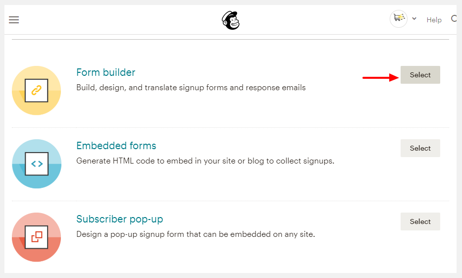 mailchimp form builder