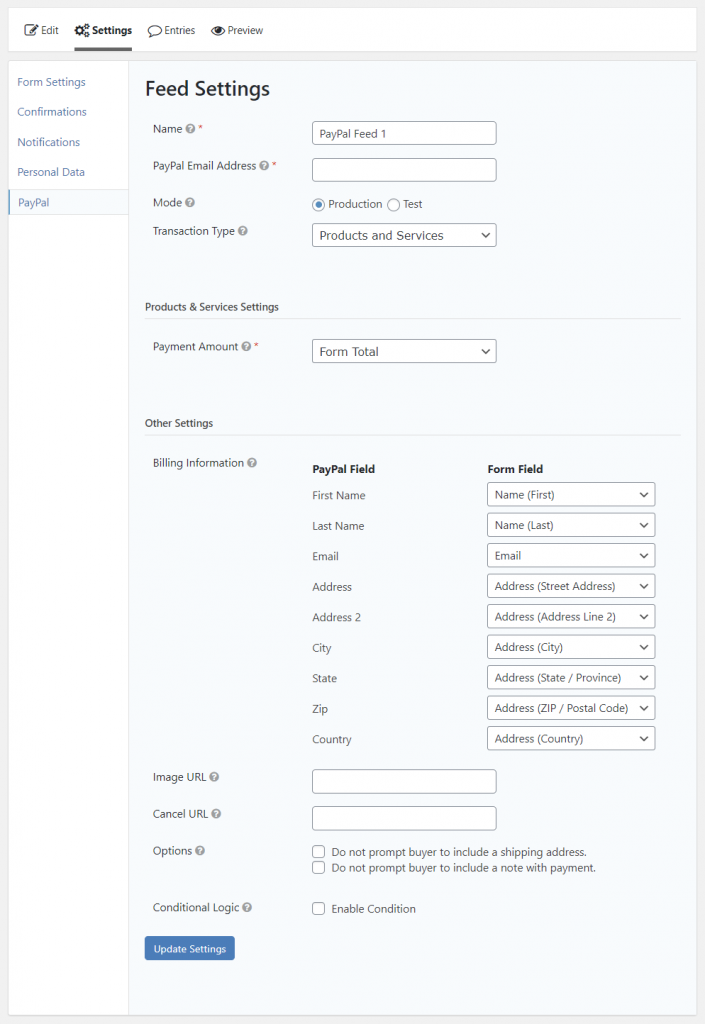 Gravity Forms PayPal Feed settings