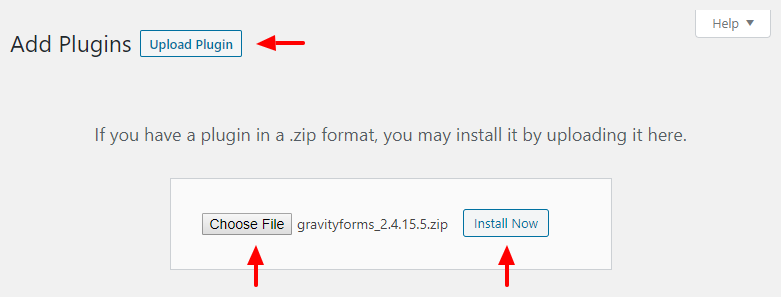 installing the gravity forms plugin