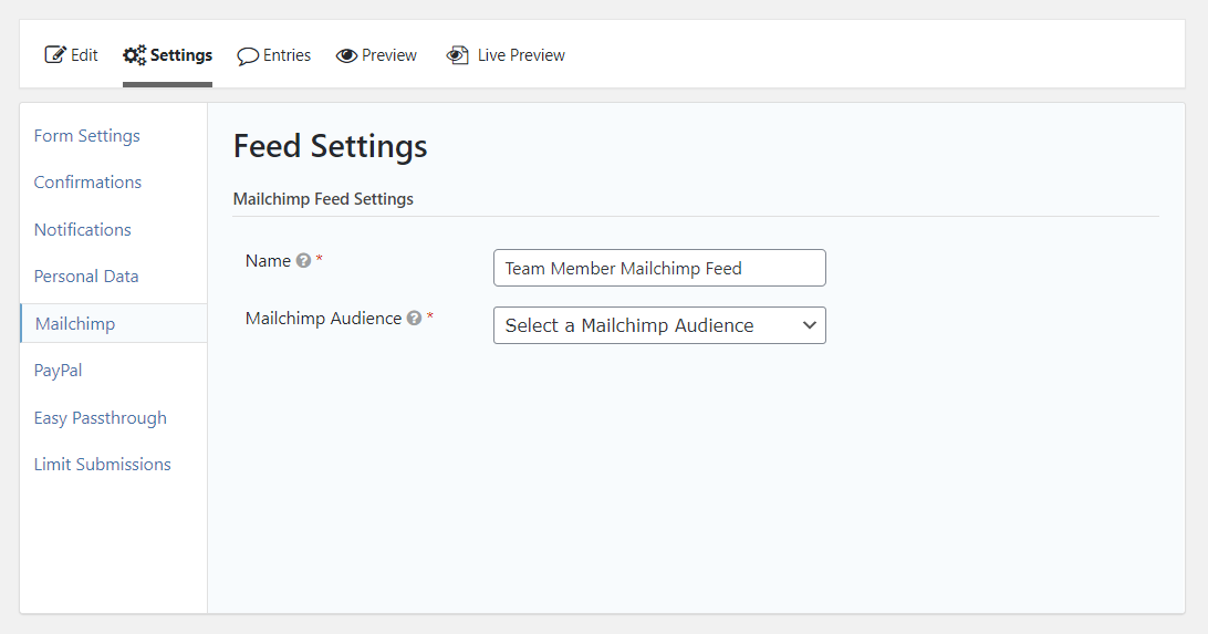 Add Mailchimp feed