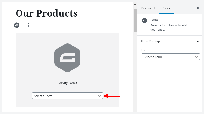 select form in gutenberg
