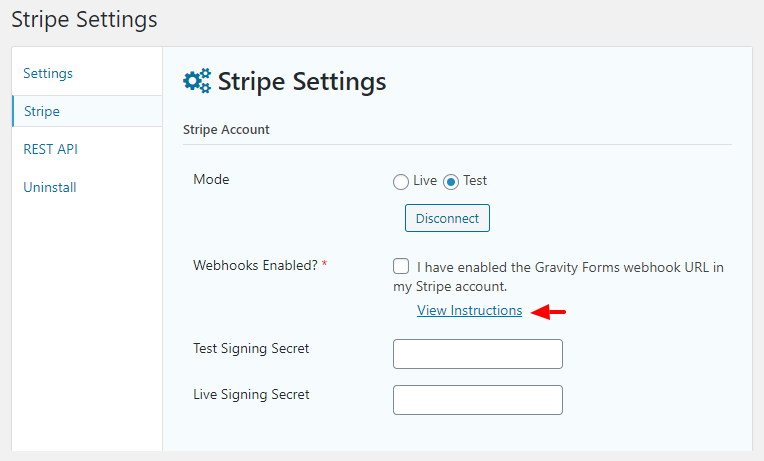stripe webhook settings