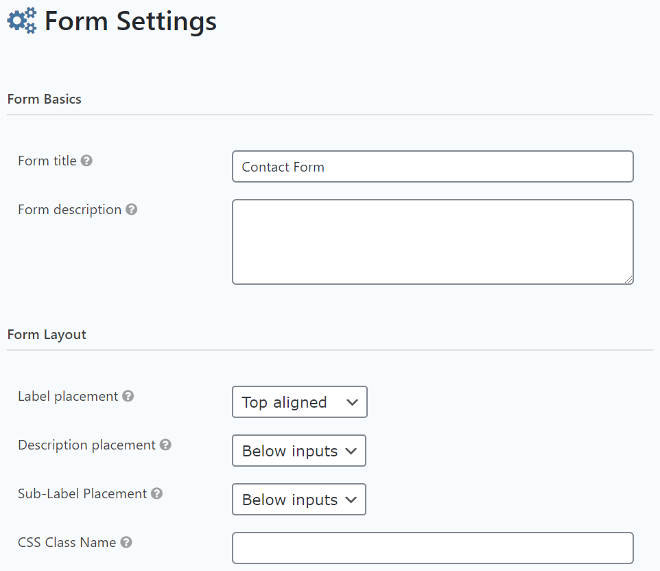 Gravity Forms layout settings