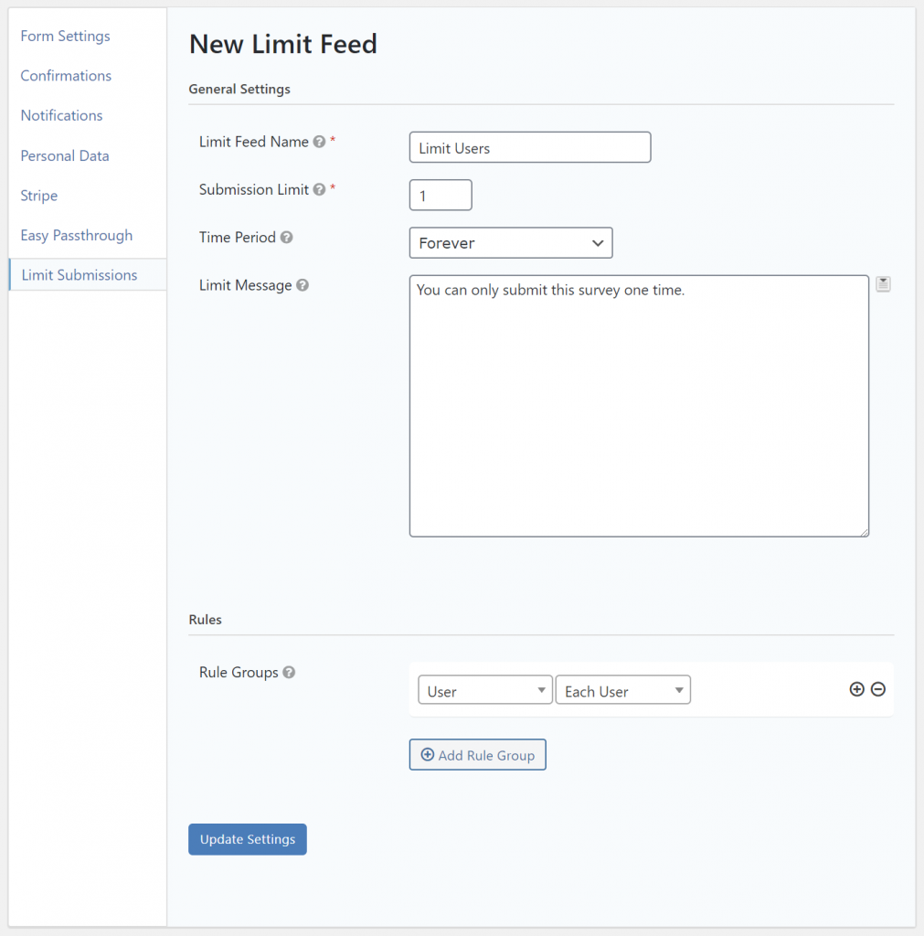 Create a survey submission limit in Gravity Forms