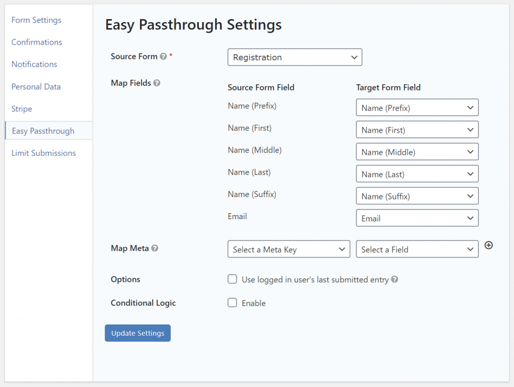Easy Passthrough settings
