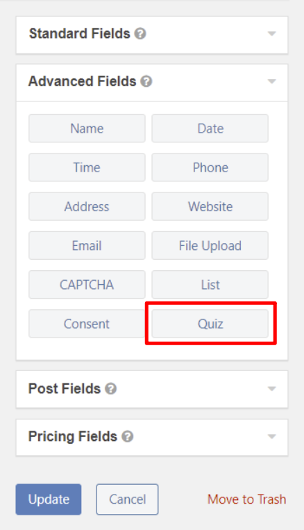 Where to find Gravity Forms quiz field