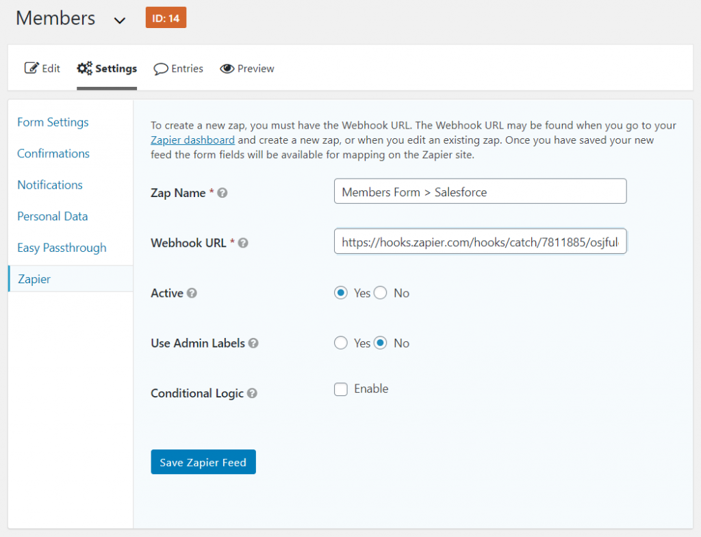Zapier webhook in WordPress