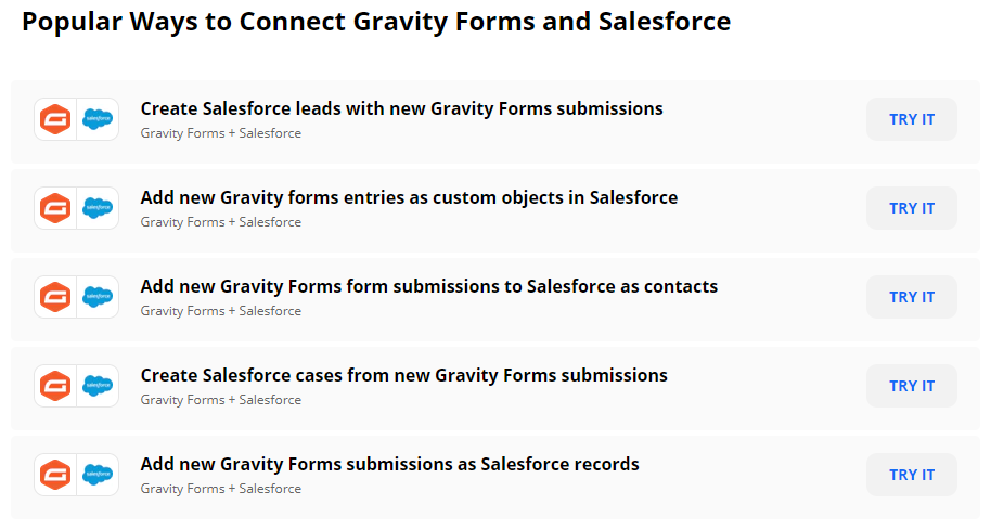 Gravity Forms Salesforce zaps