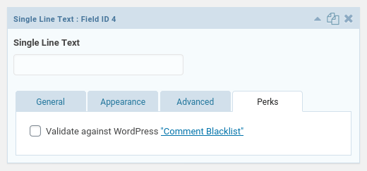 Blacklist settings for fields
